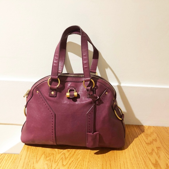 72a20cba3b7 Yves Saint Laurent Bags | Ysl Muse Leather Bag Purple | Poshmark
